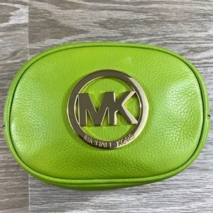 Michael Kors lime green leather zip cosmetic bag